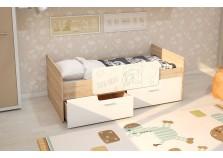 МС Умка (белый глянец) Детская кровать (800 х 1600) с ограничителем и ящиками (комплект)
