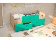 МС Умка (бирюза металлик) Детская кровать (800 х 1600) с ограничителем и ящиками (комплект)