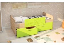 МС Умка (лайм глянец) Детская кровать (800 х 1600) с ограничителем и ящиками (комплект)