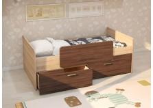 МС Умка (ясень темный) Детская кровать (800 х 1600) с ограничителем и ящиками (комплект)