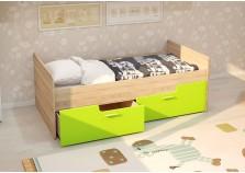 МС Умка (лайм глянец) Детская кровать (800 х 1600) с ящиками (комплект)