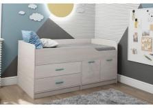 Каприз ЦРК.КПР.16 Кровать двухъярусная без рисунка, с комодом и шкафом, (сп. место: 800 х 1600)
