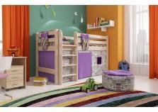 Соня С-11 (белая) Кровать-чердак низкая с прямой лестницей (сп. место: 80х190)