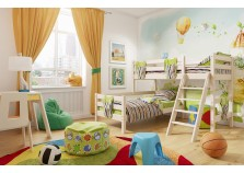 Соня С-8 (белая) Кровать угловая двухуровневая с наклоной лестницей (два сп. места: 80х190)