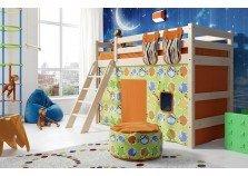 Соня С-6 (белая) Кровать-чердак полувысокая с наклонной лестницей (сп. место: 80х190)