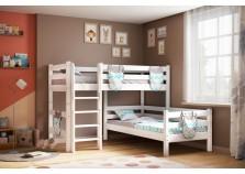 Соня С-7 (белая) Кровать угловая двухуровневая с прямой лестницей (два сп. места: 80х190)