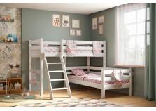 Соня С-8 (белая) Кровать угловая двухуровневая с наклоной лестницей (2 сп.места: 80х190)