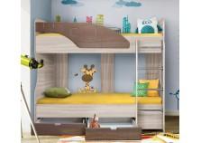 Бриз 6.5  Кровать-5 двухъярусная с лестницей (2 сп. места 80х190, б/м) (МДФ/шоколад/квадрат)
