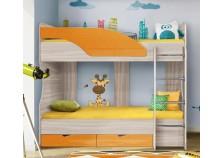 Бриз 6.5 Кровать-5 двухъярусная с лестницей (2 сп. места 80х190, б/м) (МДФ/манго/волна)