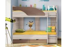 Бриз 6.5 Кровать-5 двухъярусная с лестницей (2 сп. места 80х190, б/м) (МДФ/шоколад/волна)