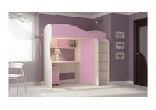 Буратино (розовый) Кровать-чердак (сп. место: 800х1860)