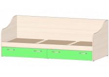 Буратино (зелёный) Кровать-тахта с ящиками