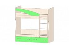 Буратино (зеленый) Кровать 2х ярусная (два сп. места: 800х1860)