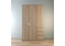 Лофт (капри) Шкаф 1200 3-дверный с ящиками (полки, штанга) (дуб сонома)