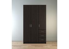 Лофт (капри) Шкаф 1200 3-дверный с ящиками (полки, штанга) (венге)