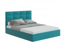 Соната (велюр бирюзовый/happy 673) Мягкая кровать 1400 б/осн. (сп.место: 140х200)