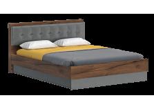 Глазго (таксония/графит) Кровать 1600 с мягким изголовьем  (сп.место: 160х200)