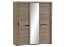 Соренто (дуб стирлинг) Шкаф-купе 3-х дверный с зеркалом
