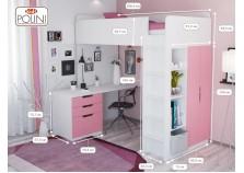 Polini (бел/роз) Кровать-чердак с письм. столом и шкафом