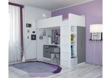 Polini (бел/серый) Кровать-чердак с письм. столом и шкафом