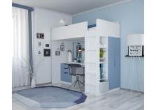 Polini (бел/синий) Кровать-чердак с письм. столом и шкафом