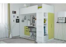 Polini  (бел/зел) Кровать-чердак с письм. столом и шкафом