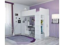 Polini (бел) Кровать-чердак с письм. столом и шкафом