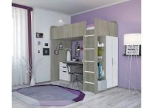 Polini (вяз/бел) Кровать-чердак с письм. столом и шкафом