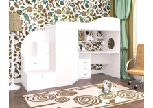 Кадет-1 (белое дерево) кровать-чердак с приставкой (сп.м. 800х1900)