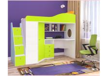 Кадет-1 (белое дерево/лайм) Кровать-чердак с универс.лестницей (сп.м. 800х1900)
