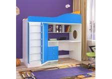 Кадет-1 (белое дерево/голубой) Кровать-чердак с метал.лестницей (сп.м. 800х1900)