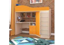 Кадет-1 (дуб молочный/оранжевый) Кровать-чердак с метал.лестницей (сп.м. 800х1900)