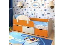 Малыш-мини (дуб молочный/оранжевый) Кровать-чердак (сп.место: 70х160)