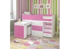 Малыш (белое дерево/розовый) Кровать-чердак (сп.место 700х1600)