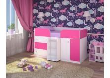 Малыш-4 (белое дерево/розовый) Кровать-чердак (сп.место 800х1800)