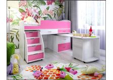 Малыш-6 (белое дерево/розовый) Кровать-чердак (сп.место: 70х160)