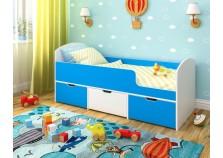 Малыш-мини (белое дерево/голубой) Кровать-чердак (сп.место: 70х160)