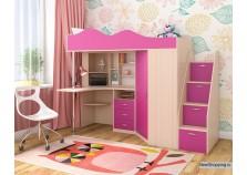 Пионер (дуб молочный/ розовый) Кровать-чердак (сп.место: 80х190)