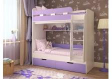Юниор-5 (дуб/ирис) Двухъярусная детская кровать (два сп. места: 800х1900)