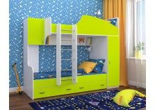 Юниор-2 (винтерберг/лайм) Двухъярусная кровать (два сп. места: 800х1900)
