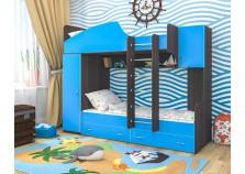 Юниор-2 (бодего/голуб) Двухъярусная кровать (два сп. места: 800х1900)
