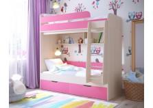 Юниор-5 (дуб/роз) Двухъярусная детская кровать (два сп. места: 800х1900)