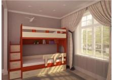 Юниор-1 (оранж/дуб) Кровать двухъярусная (два сп. места: 800х1900)