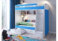 Юниор-6 (белый/голубой) Кровать двухъярусная (сп. место: нижнее 700х1600, верхнее 800х2000)